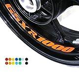 8 X Felgen Motorrad Bike Aufkleber Sticker Decal SUZUKI GSXR 1000 für Vorder und Hinterrad Innenrand Aufkleber Sticker Felgen Set Tuning
