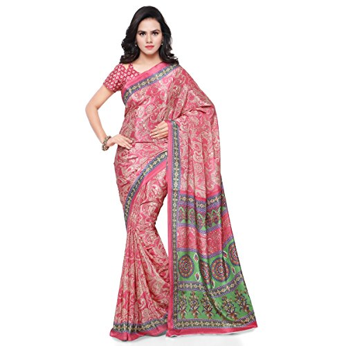Triveni Women's Crepe Sarees Collection with Blouse Piece (Pink)