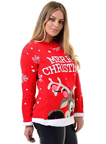Mymixtrendz. Womens Ladies Xmas Reindeer Merry Christmas Novelty 3D Bubbles Jumper Sweater 8-22 -