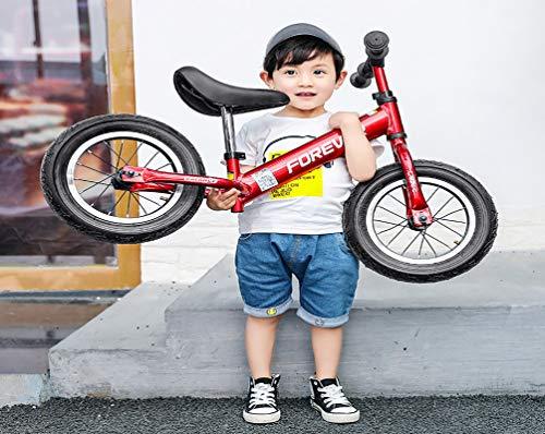 Laufrad Kinder Rahmen Aus AluminiumlegierungKein Pedal Einstellbarer SattelLuftreifen Laufen Gehen Fahrrad Seit 2 3 4 5 6 Jahren Jungs MäDchen- 12 Zoll, Red -