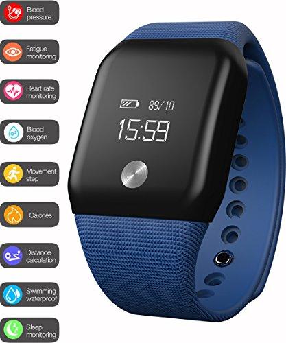 Bluetooth Fitness Tracker Smart braccialetto cardiofrequenzimetro con sangue ossigeno pressione sanguigna Monitor attività Tracker intelligente del braccialetto per IOS Android (Blu)