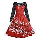 Luckycat Damenmode Spitze Langarm Print Weihnachten Party Swing Dress Abendkleider Cocktailkleid Partykleider Blusenkleid Mode 2018