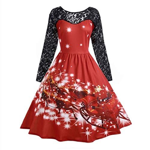 Luckycat Damenmode Spitze Langarm Print Weihnachten Party Swing Dress Abendkleider Cocktailkleid Partykleider Blusenkleid Mode 2018