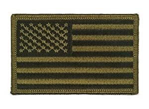 Patch Ecusson Brodé US Army Kaki - Thermocollant - Bras Gauche - USA Flag - Airsoft - Paintball - Outdoor