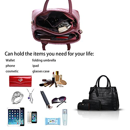 Sunas 2017 il nuovo sacchetto di spalla del sacchetto di spalla del sacchetto del bambino ha impresso il sacchetto del sacchetto del sacchetto del bambino delle signore 3 insiemi delle borse nero