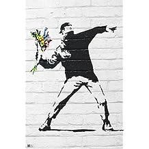 """Póster Banksy """"Thowing Flowers/ Lanzando Flores"""" (61cm x 91,5cm) + 2 marcos negros para póster con suspención"""