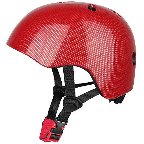 Six Foxes Kinder Fahrradhelm, Einstellbar Multi-Sport Fahrradhelm, Mädchen Jungen Fahrrad Helm Skating Roller Helm für 3 bis 8 Jahre (Rot)
