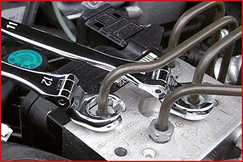 KS Tools 518.0350 Chrome Plus Offener Doppel-Ringschlüssel-Satz mit Gelenk, 3-teilig, 10-12 mm