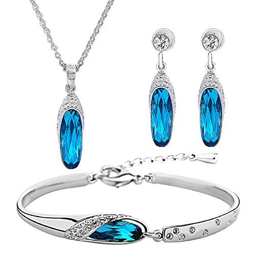 Om Jewells Combo of Azure Blue Crystal Valentine Gift Pendant Set & Adjustable Bracelet (Made in India) for Women & Girls CO1000023