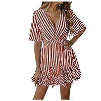 فستان صيفي نسائي بأكمام قصيرة وحزام مخصص مخطط اللون احمر US Large