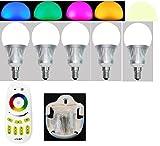 SET 5 x E14 5W RGB+Warm Weiss + 1 x Fernbedienung 4Zonen + 1 x Halter für Fb, ALLES original Mi-Light 2,4G MILIGHT®