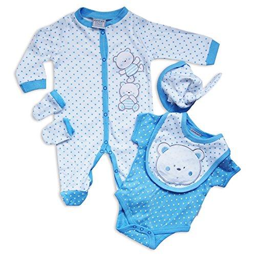 Set 5Pezzi Bambino Neonato Unisex Outfit Tutina Pigiama Body Cappello Guanti Orsetto by Aardvark in blu/bianco bianco White/Multi 6 - 9 mesi
