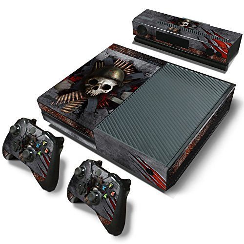 46 North Design Xbox One Pegatinas De La Consola Skull Metal + 2 Pegatinas Del Controlador & 1 Kinect Sticker