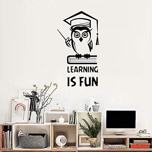 Fengdp Lernen Macht Spaß Inspirierend Zitat Wandtattoo Bildung Eule Buch Vinyl Aufkleber Kinderzimmer Schlafzimmer Dekoration Schule Aufkleber 56 * 100 cm