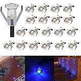 20er Set LED Lampen 0.4W Mini Treppen Einbaustrahler IP67 Wasserdicht Außen Lampe Boden Einbauleuchten (Blau)