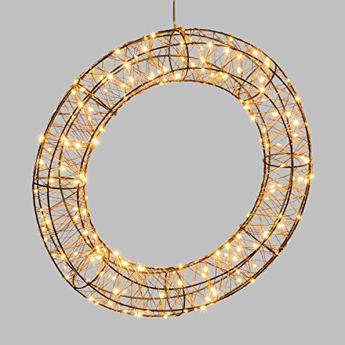Couronne 3D lumineuse en métal - Diam. 40 cm - Cuivré
