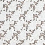Fabulous Fabrics Alpenfleecet Melange Verdutztes Rehkitz – Hellgrau — Meterware ab 0,5m — zum Nähen von Kinderbekleidung und Sweatshirts