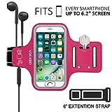 VGUARD Brazalete Deportivo para 6.5 Pulgados iPhone XS MAX/XS/ 8 Plus Caja del Brazalete Antideslizante para Deportes con Soporte para Llaves, Cables, Tarjetas y Banda Reflectante (Rosa Oscuro)