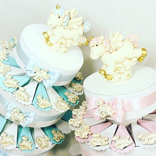 Torta bomboniera calamita unicorno con sfumature rosa per bimba o sfumature celesti per bimbo incluso il centrale salvadanaio (torta 20 fette rosa a 1 piano)
