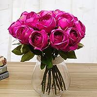 Butterme 5 Pz vero tocco Rosa della seta artificiale mazzi di fiori per vaso casa della festa nuziale o compleanno decorazioni del giardino (Rosa caldo)