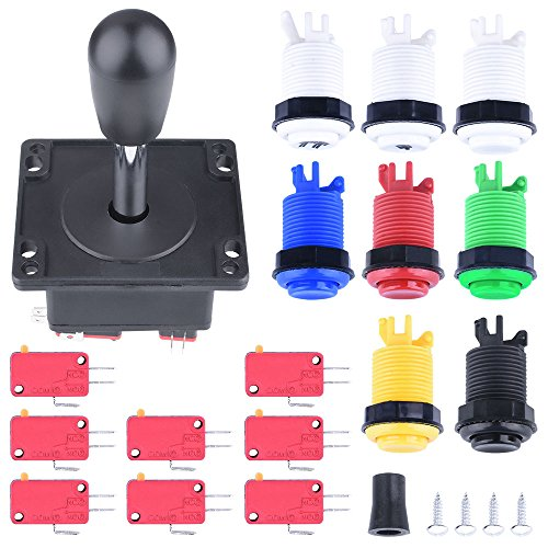 Arcade Parts Bundles Kit,Longruner Arcade Accessories Kit with 1 Joystick,8 Push Buttons(1P/2P buttons & 6pcs Buttons) for Arcade Video Game Multicade MAME Jamma Game - Bundle Raspberry B Model Pi
