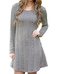 AOGD Damen Herbst Und Winter Pullover Sexy Pullover Pulli Strickpulli  Sweatshirt Hipster Hoodie Lässige Lose Pullover Langarm Rundhals… a58fb0889f