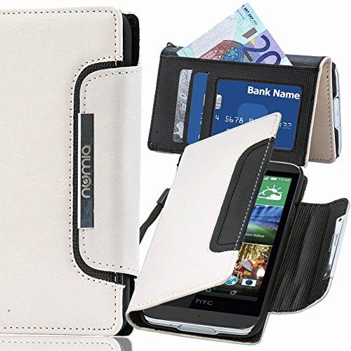 HTC Desire 526G Hülle, numia Handyhülle Handy Schutzhülle [Book-Style Handytasche mit Standfunktion & Kartenfach] Pu Leder Tasche für HTC Desire 526G Case Cover [Weiss-Schwarz]