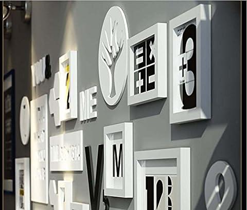 Ensemble de cadre photo en BOIS SOLIDE - 10 cadres - VERRES EN VERRE - Avec décoration murale - Largeur de cadre 2cm - blanc / noir , black