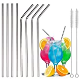 Extra Long 18/8 Stainless Steel Straws 8 Packs (4 Angled + 4 Straight + 2 Brush) Reusable Metal Drinking Straws for 30oz and 20oz Cups Rumblers Fits All Yeti Ozark Trail SIC & RTIC Tumblers