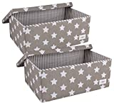 Minene Aufbewahrungsbox Set mit Deckel (groß, grau/weiß Sterne)