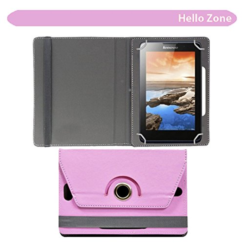 """Hello Zone Exclusive 360° Rotating 7"""" Inch Flip Case Cover Book Cover for Datawind UbiSlate 7C+Tablet -Baby Pink"""