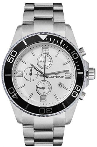 Reloj LORENZ Cronógrafo 030049bb Hombre Acero Blanco y Negro Sub 100Mt