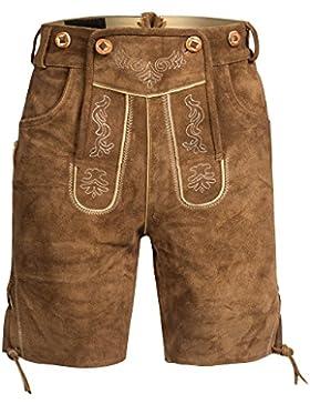 Herren Trachten Lederhose Bundhose kurz mit Trägern aus Rindveloursleder in hellbraun Gr. 46-60