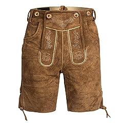 Idea Regalo - Lederhose shorts in pelle mens con il marrone chiaro con giarrettiere GERMAN OKTOBERFEST TRADIZIONALMENTE 48
