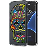 Galaxy S7 Edge Funda - MoKo Protective Case [Shock Absorbent] [Ultra Hybrid] Soft Flexible TPU Edges with Hard PC Back Cover with Colorful Skull Pattern para Samsung Galaxy S7 Edge 5.5 Inch (2016)