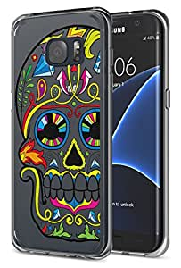 Galaxy S7 Edge Case - MoKo Protective Case [Shock Absorbent] [Ultra Hybrid] Soft Flexible TPU Edges with Hard PC Back Cover with Colorful Skull Pattern for Samsung Galaxy S7 Edge 5.5 Inch (2016)
