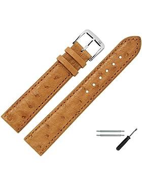 Uhrenarmband 20 mm Leder braun Prägung, Strauß (echter Vogelstrauss), mit Naht - MADE IN GER - inkl. Federstege...