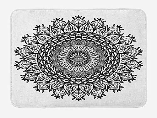 OQUYCZ Lotus Bath Mat, Arabesque Mandala with Flower Effects Oriental Folk Boho Sacred Artful Illustration, Plush Bathroom Decor Mat with Non Slip Backing, 23.6 W X 15.7 W Inches, Black White Arabesque Flower