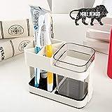INOVERA (LABEL) Bathroom Toothbrush Toothpaste Holder Stand Storage Organizer, Off White