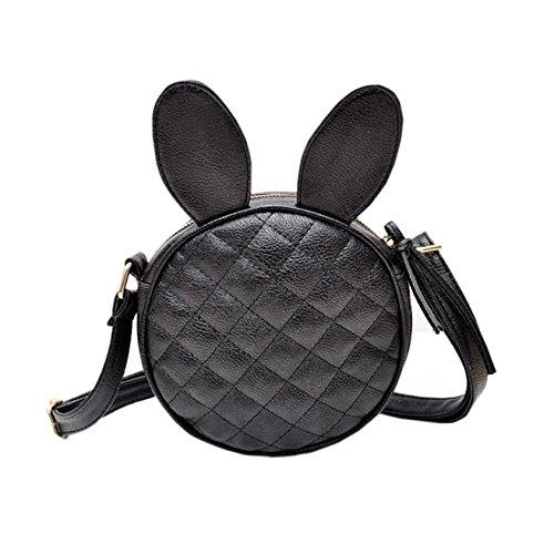Dooney Bourke Leder Taschen (Frauen Mädchen Kaninchen Ohr Rund Leder Handtasche Schulter Messenger Mini Tasche, Damen, Schwarz)