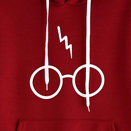Automne Hiver Sweats à Capuche Femme Long Sleeve Hoodie Sweatshirt Jumper Hooded Pullover Tops Blouse Par Homebaby Rouge