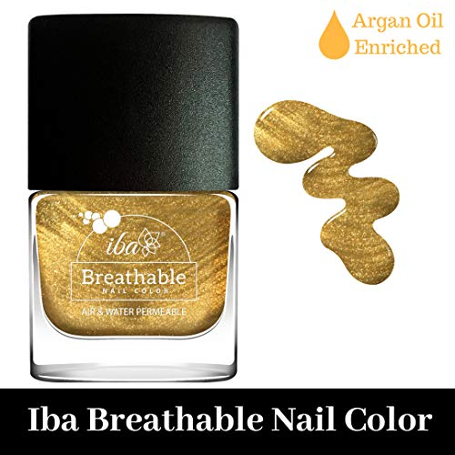 Iba Halal Care Breathable Nail Color, B23 Gold Sparkle, 9ml