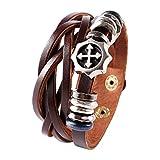 Bracelet En Cuir Leather Véritable Wrap Manchette Corde brun Croix Pirate Homme Femme Unisexe cadeau d'amitié