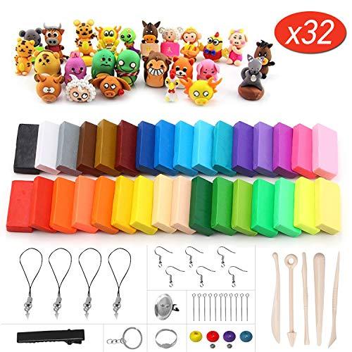 Mopalwin Polymer Ton 32 Farben Clay, Polymer Clay Weichen Ofen backen Lehm Crafts Modellierung Set Figur DIY Spielzeug Basteln und Werkzeuge Geschenk für Kinder -