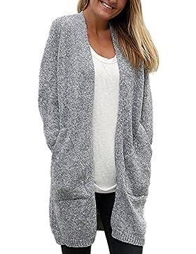 La Mujer Casual Solid Frente Abierto Con Sesgo Bolsillo Flojo Cardigan Sweater