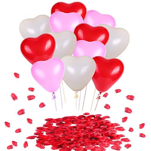 Howaf palloncini a forma di cuore lattice palloncini rosa rossi bianchi (60 pezzi) e rosso seta petali di rosa (1000 pezzi) per matrimoni, anniversari, san valentino decorazioni e regalo per lui lei