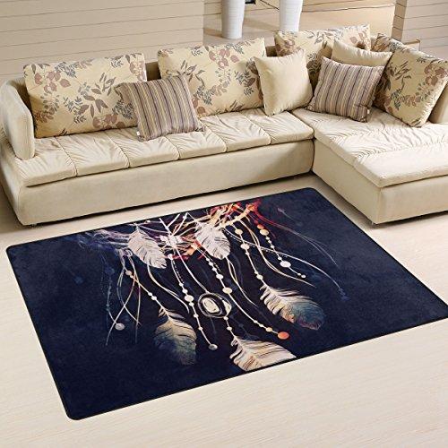 JSTEL INGBAGS Alfombra de salón y Dormitorio para niños, diseño Moderno, Muy Suave, para atrapasueños, Bohemio, poliéster,, 60 x 39 Inch