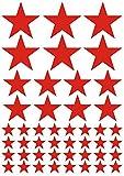 das-label Aufkleber | 46 STERNE rot | OUTDOOR glänzend | unterschiedliche Größen | Valentinstag | Weihnachten | Muttertag | Scrapbook | Geburtstag | Geschenke | zum bekleben von Autos | Tüten | Geschenkkartons | selbstklebende Markierungspunkte