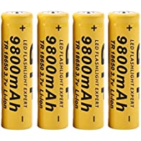 STRIR 4pcs Batería recargable Li-ion de 3.7V 18650 9800mah