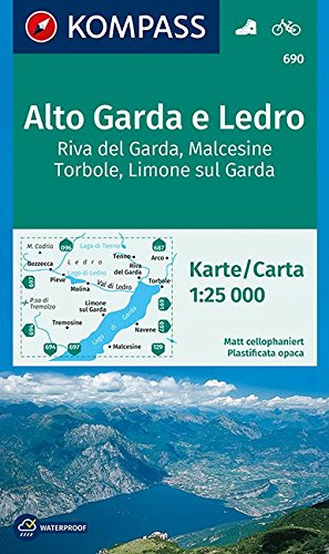 Alto Garda e Ledro, Riva del Garda, Malcesine, Torbole, Limone sul Garda: Wanderkarte mit Radrouten. GPS-genau. 1:25000 (KOMPASS-Wanderkarten, Band 690)